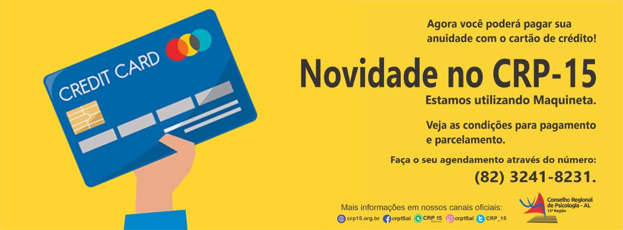 Psicóloga(o) agora você pode pagar sua anuidade com cartão de crédito
